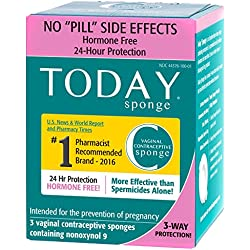 Today Sponge Vaginal Birth Control, Green, 3 Count