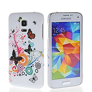 KCASE Flower Butterfly Hard Rubber Case Cover For Samsung Galaxy S5 Mini
