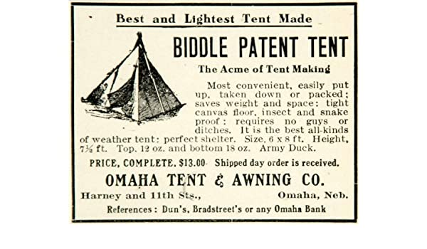 Amazon.com 1910 Ad Biddle Patent Tent Acme Omaha Awning Harney 11th St NE C&ing Shelter - Original Print Ad Entertainment Collectibles  sc 1 st  Amazon.com & Amazon.com: 1910 Ad Biddle Patent Tent Acme Omaha Awning Harney ...