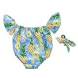 NUWFOR Summer Kids Baby Girl Fruit Print Tops Bodysuit Romper Hair Band Sunsuit Clothes(Blue,12-18 Months)