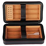 CIGARISM Leather Cedar Wood Lined Portable Cigar Travel Case Humidor 6 Count (Black)