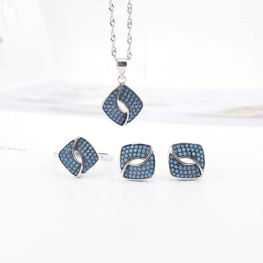 WOZUIMEI Pendiente Colgante Collar Conjuntos de Joyas para Mujeres Conjuntos de Joyas de Moda para Mujeres S925 Anillo de Plata Esterlina Conjunto Femenino con Conjuntos de Joyas Turcas Azules Turque