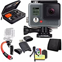 GoPro HERO+ LCD + Steadicam Curve for GoPro HERO Action Cameras (Red) + Case for GoPro HERO4 and GoPro Accessories + 6pc Starter Kit Bundle