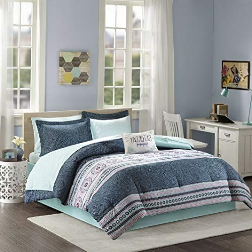 Kaputar Beautiful Modern Chic Blue Aqua Teal Pink Grey Bohemian Comforter Set Sheets | Model CMFRTRSTS - 407 | Twin