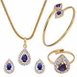 Efulgenz Fashion Jewelry Set Halo Tear Drop Cubic Zirconia Crystal Pendant Necklace Set with Earrings, Bracelet and Ring for Women and Girls Brides and Bridesmaid