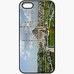 Protective Case Back Cover For iPhone 5 5S Case CHECHNYA MOSQUE FOUNTAIN SKY CLOUDS NATURE Black