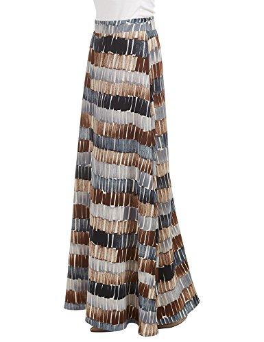 WB1448 Womens Printed Maxi Skirt With Waist Elastic Band M Black_Brown