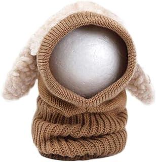 FENICAL Inverno Bambino Bambini Ragazzi Ragazze Cute Dog Design Modellazione Mantenere Caldo a Maglia Cappuccio Sciarpa di Lana CAPP Cappuccio Cappelli (Khaki)