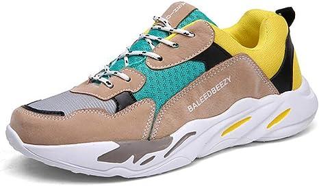 HDWY Zapatillas De Deporte Ligeras De Seguridad para Hombres, Tendencia Zapatillas De Correr Clásicas con Poca Altura Ocio Transpirable Zapatillas Deportivas para Caminar Hombres,Yellow,6.5: Amazon.es: Deportes y aire libre