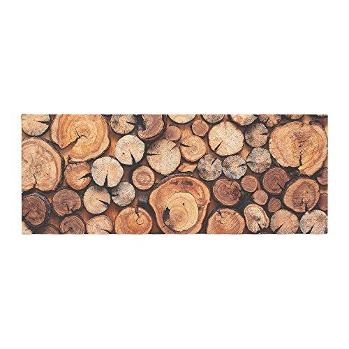 Kess InHouse Susan Sanders Rustic Wood Logs Brown Tan Bed Runner, 34'' x 86'' by Kess InHouse (Image #1)