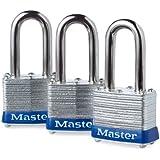 Master Lock 3TRILF Keyed-Alike Padlock, 1-1/2-inch Shackle, 1-9/16-inch Wide, 3-Pack