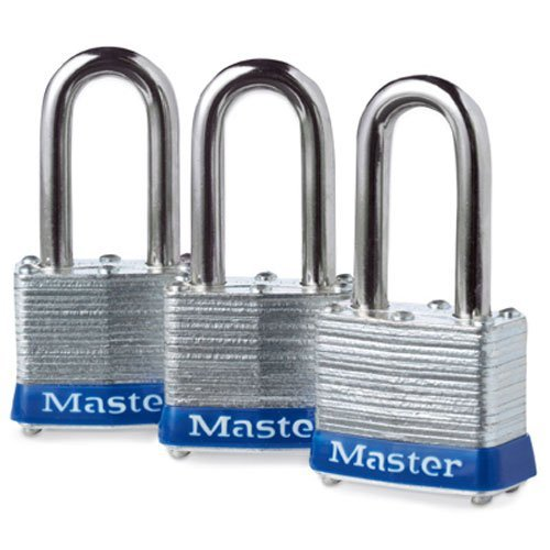 Master Lock Padlock, Laminated Steel Lock, 1-9/16 in. Wide, 3TRILF (Pack of 3-Keyed (Master Cylinder Padlock)
