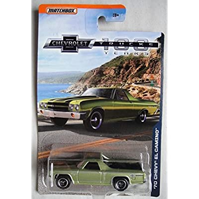 MATCHBOX 1:69 SCALE DIE CAST CHEVROLET 100 YEARS TRUCKS, GREEN '70 CHEVY EL CAMINO: Toys & Games