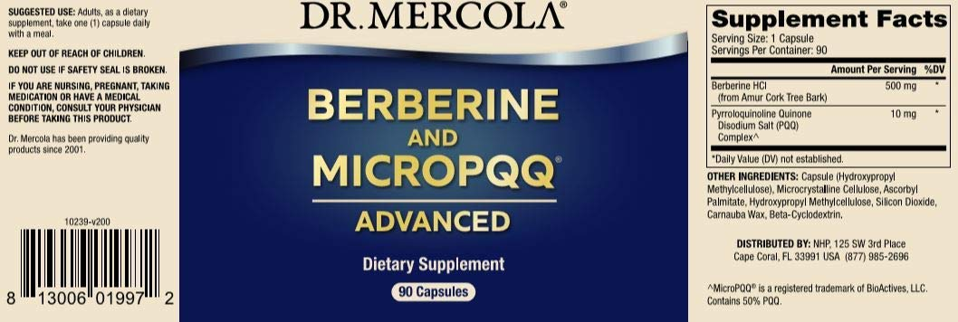 Dr. Mercola, Berberine and MircoPQQ Advanced, 90 Servings (90 Capsules), Supports Immune Health, Non GMO, Soy Free, Gluten Free by Dr. Mercola