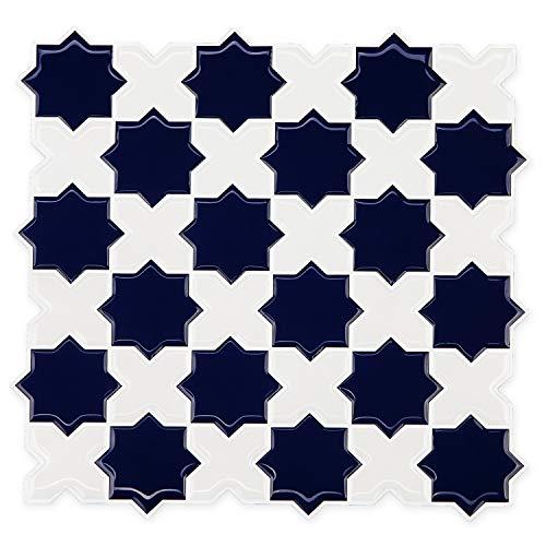 FUNWALTILES Star Cross Design Premium Anti Mold Peel and Stick Backsplash Tile Wall Decor Tile,10X10, 10Sheets