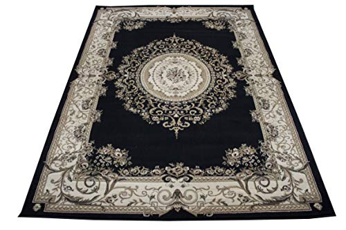 New Traditional Area Rug 8x10 Persian Area Rugs All-Over Pattern Tabriz 8'x10' Feet Flowers Black Beige Ivory Tan Rugs For Bedroom Living Room (Tabriz 415 Black ()