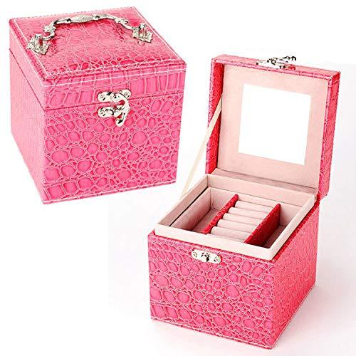 LIAOYLY Crocodile Pattern Leather Jewelry Box Multideck Storage Cases Wedding Birthday Gift,Rose Red