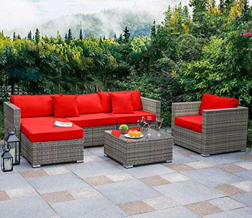 Tribesigns 6 PCS Outdoor Furniture Sectional Sofa Set, Large Wicker Patio Furniture Conversation Set Rattan Couch with Waterproof Cushions, Backyard Porch Garden Poolside Balcony Furniture (Red)