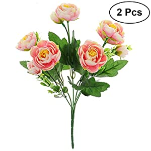 STOBOK 2pcs Artificial Camellia Flowers Bouquet Fake Plant Bundle for for Party Wedding Home Decoration (Pink) 106