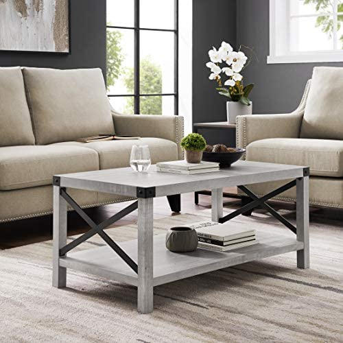 Walker Edison Furniture Company Rustic Modern Farmhouse Metal and Wood Rectangle Accent Coffee Table Living Room Ottoman Storage Shelf, 40 Inch, Stone Grey
