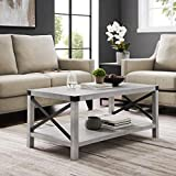 WE Furniture AZF40MXCTST Modern Farmhouse Coffee Table with Storage for Living Room, 40', Stone Grey