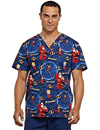 Tooniforms Mens V-Neck Top Scrub Top Incredible Family