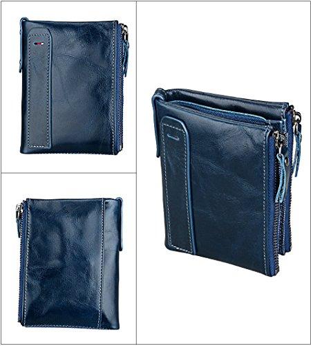 WTUS Mujer Carteras De Cuero Vintage Protección RFID Aluma Monedero Resistente Para Tarjeta de Crédito Dinero y Carnet ID para Mujer Azul