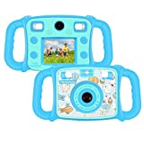 """Prograce Kids Camera Dual Selfie Camera 1080P HD Video Recorder Digital Action Camera Camcorder for Boys Girls Gifts 2.0"""" LCD Screen with 4X Digital Zoom and Funny Game(Blue)"""