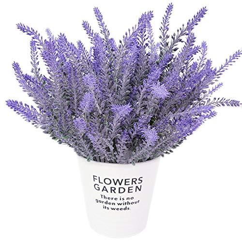 CattleyaHQ Flores de Lavanda Artificial 4 Piezas,Plantas Artificiales Vivas para La Sala de Bodas,Decoracion de Patio de Jardin-Purpura