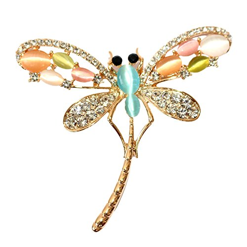 (Navachi 18k Gold Plated Colorful Created-Opal Crystal Dragonfly Az7905b Brooch Pin)