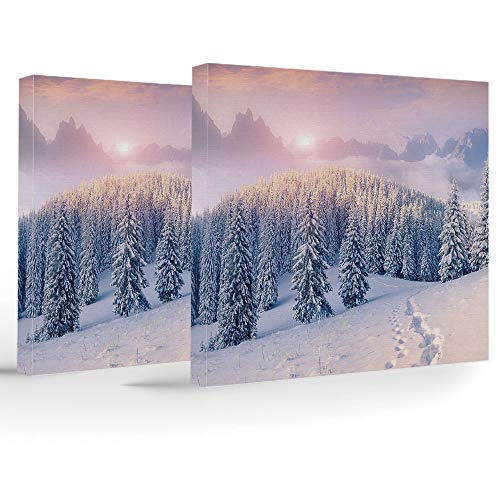 Artwork Wall Art Canvas Prints Picture,Mountain,2 Panels Stretched Canvas Framed Wall Art,Idyllic Winter Morning in Woodland Rising Sun Pine Trees Forest Snowy Foggy ()