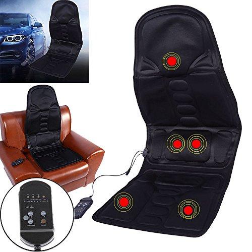 - Comfortable Car Massage Seat Back Neck Lumbar Massaging Cushion Heated Mat Pad Massagers for Home Car Office Black