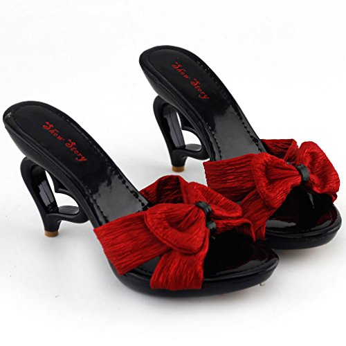 Ankle Strappy With Show Bride Heels Sandals Wedding Heart Story SM33101 Bow Black Dancing Unmoved Mules Strap x5xFqErO