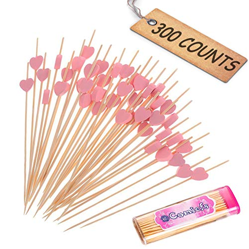 "Comicfs Cocktail Picks Handmade Bamboo Toothpicks 4.7"" Party Supplies 300 Counts BONUS Comicfs Portable Toothpick Box Pocket Set, Pink Heart - 08A for $<!--$13.88-->"