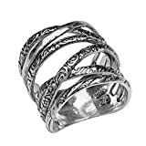 PZ ♥925 Sterling Silver Multi-texture Highway Ring (10)