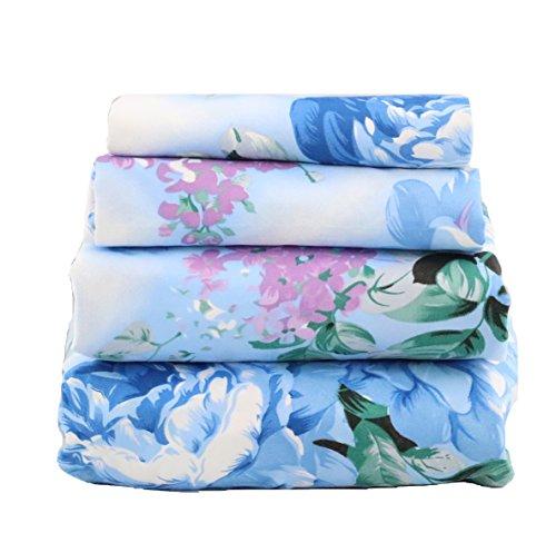 JAYCORNER 1800 Series Super Soft Egyptian Comfort 4pcs Blue & Lavender Floral Blue Dream (Queen)
