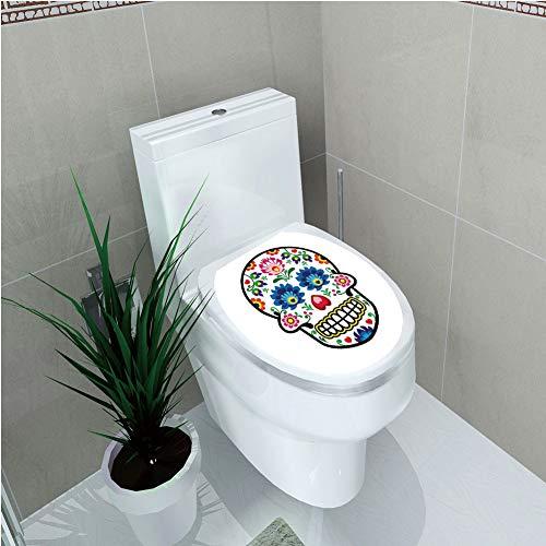 - Toilet Cover Decoration,Sugar Skull Decor,Polish Folk Art Style Mexican Sugar Skull Design Ethnic Carnival Theme Decorative,Multicolor,3D Printing,W11.8