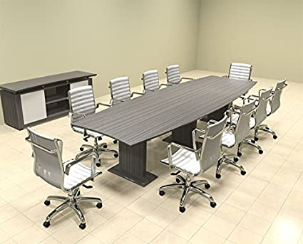 Amazoncom Modern Contemporary Boat Shaped Feet Conference - 12 foot conference room table