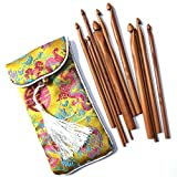 12-Pack 3mm-10mm Bamboo Crochet Kits in a Pouch for Beginner