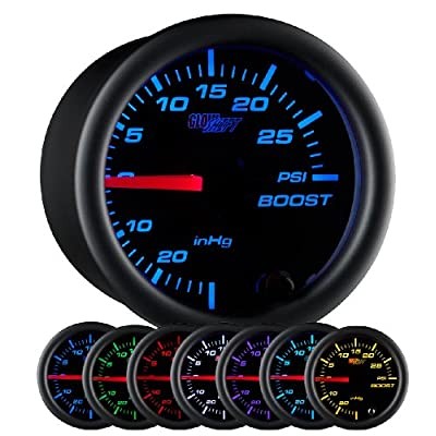 GlowShift Black 7 Color 30 PSI Turbo Boost/Vacuum Gauge Kit - Includes Mechanical Hose & T-Fitting - Black Dial - Clear Lens - for Car & Truck - 2-1/16