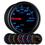 "GlowShift Black 7 Color 30 PSI Turbo Boost/Vacuum Gauge Kit - Includes Mechanical Hose & T-Fitting - Black Dial - Clear Lens - for Car & Truck - 2-1/16"" 52mm"