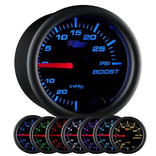 (GlowShift Black 7 Color 30 PSI Turbo Boost/Vacuum Gauge Kit - Includes Mechanical Hose & T-Fitting - Black Dial - Clear Lens - For Car & Truck - 2-1/16
