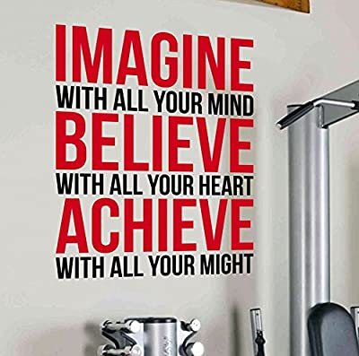 Imagine Believe Achieve Life Goals Motivational Wall Decal Quote