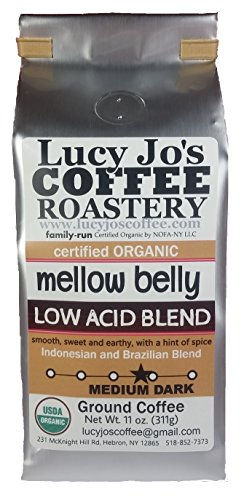 - Lucy Jo's Coffee, Organic Mellow Belly Low Acid Blend, Ground, 11 oz