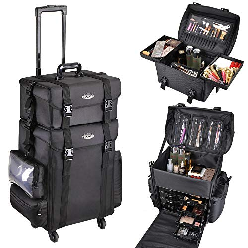 Byootique 4 Wheels 2in1 Rolling Soft Sided Makeup Case Freelance Makeup Artist Cosmetic Organize Storage Travel Train…