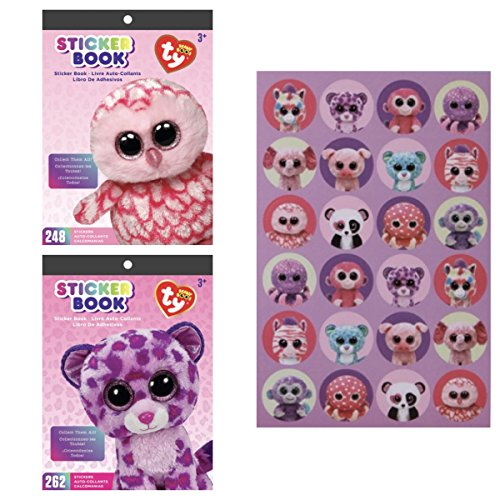 Two (2) TY BEANIE BOOS Animals STICKER BOOKS - PINKY the OWL & GLAMOUR the LEOPARD (Total 510 Stickers) & 48 Bonus Stickers - TEACHER Classroom PARTY Incentive ACTIVITIES (Scrapbooking Activity)