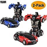 car robot transformer - YEAM Toys Car 2 Packs, Kids Toys Robot Deformation Car Model Toy for Children,Tranform One Step(Blue and Red)
