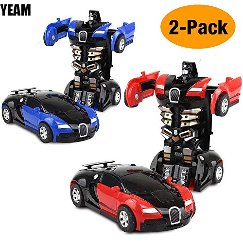 YEAM Toy Cars 2 Packs, Toy VehicleRobot for Kids Deformation Play Vehicle ,Tranform One Step(Blue and Red) from YEAM
