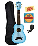 Kala MK-SD-LBBURST Makala Dolphin Soprano Ukulele - Light Blue Burst Bundle with Gig Bag, Tuner, Austin Bazaar Instructional DVD, and Polishing Cloth