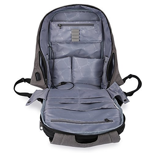 Tigernu 10W Solar Backpack Anti Theft 15.6 Laptop Backpack with USB Charging Port (Light Gray) by TIGERNU (Image #5)